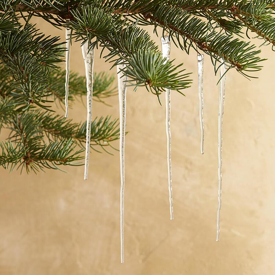 "5"" GLASS ICICLES, SET OF 15"