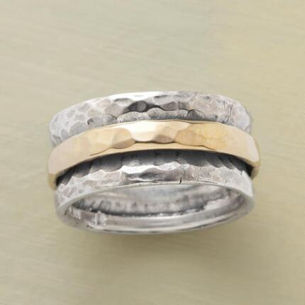 Mix things up with a silver & gold slide ring, both novel and classic at the same time.