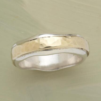 Graced by just a touch of irregularity, this path of life silver & gold ring is one of a kind.