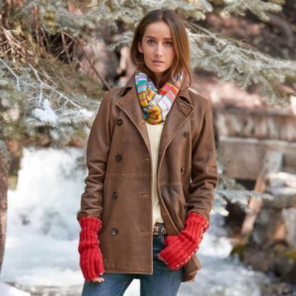 WEATHERED LEATHER PEACOAT