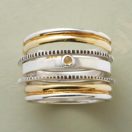 Elegance meets variety in these five senses stack rings, a set you'll want to wear every day.