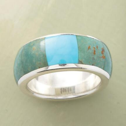 Open up your look with this blue turquoise windowpane ring's vibrant hues.