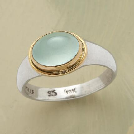 This aqua agua aquamarine ring has a design so lovely, you might never take it off.