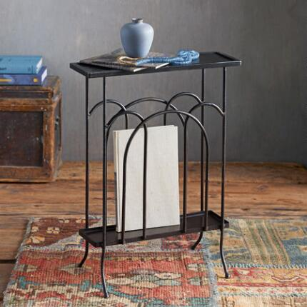 Keep all your periodicals in order in our slim iron table with a magazine rack.