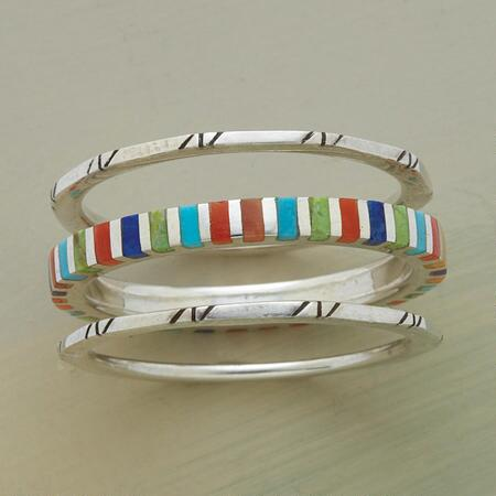 Wear this sterling silver cabana ring trio to add a vivid sense of variety to your look.