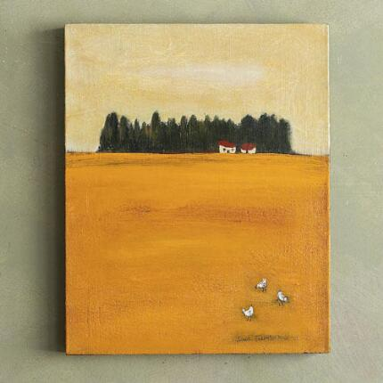 YELLOW FIELD WITH CHICKENS PAINTING