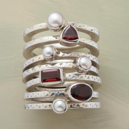 This lavish garnet and pearl stack ring set is all the ring you could want.