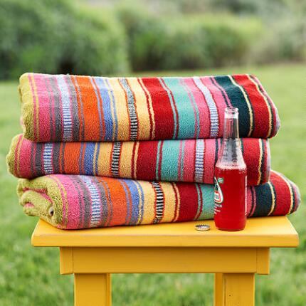 SUPER-SIZED SUNDANCE STRIPED BEACH TOWEL