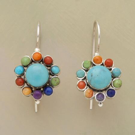 This pair of colorful cabochon gemstone earrings bring a blossoming vivacity to any look.