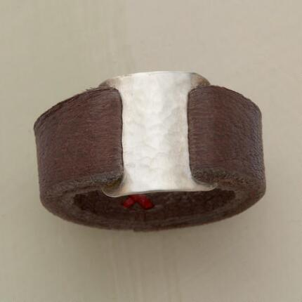 Wear something truly different with this handcrafted leather band ring.