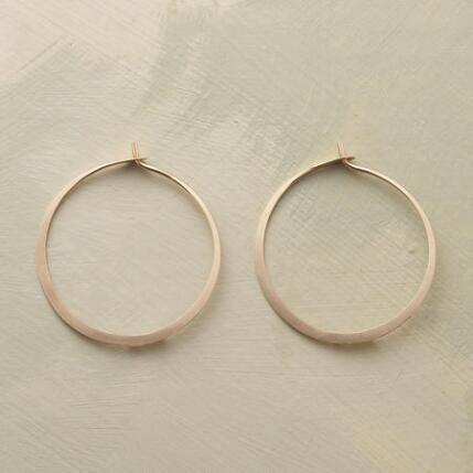 MEDIUM HAND FORGED GOLD HOOPS