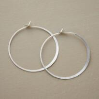 LARGE STERLING HAND FORGED GYPSY HOOPS