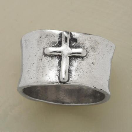 Wear this hammered faithful cross ring in sterling silver as a beacon of belief.