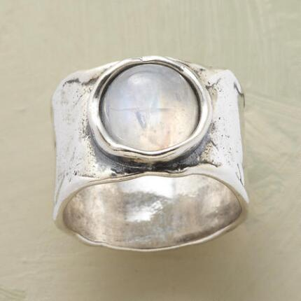 This lunar reflections moonstone ring is as serene and timeless as the moon itself.