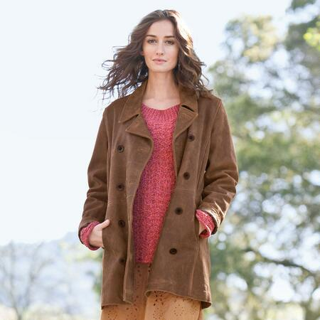 WEATHERED LEATHER PEACOAT - PETITES