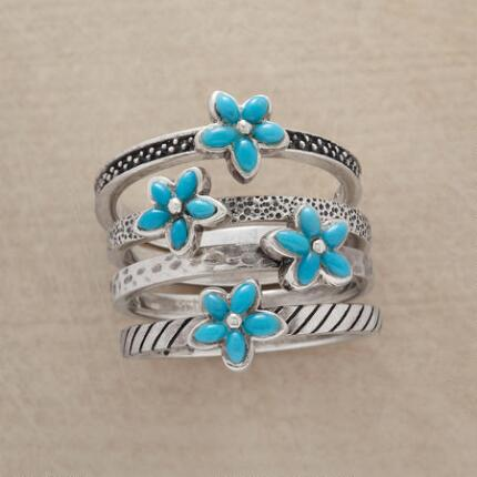 A turquoise bouquet ring set that will make your ensemble positively blossom.