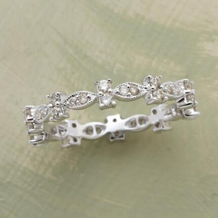 ART NOUVEAU BANDS, DIAMOND LEAF RING