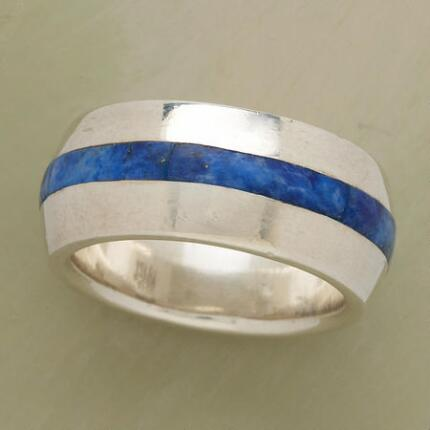 A sudden bolt of blue adds excitement to this stripe denim lapis ring.