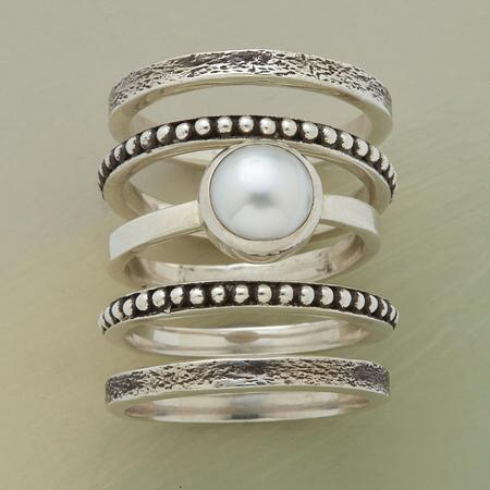 PEARLY GIRL STACK RINGS