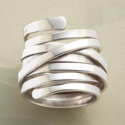 Add a touch of elegance to any outfit with this sterling silver wraparound ring.