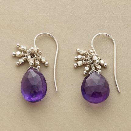 These dangling amethyst drop earrings bring a sense of sparkle to any occasion.