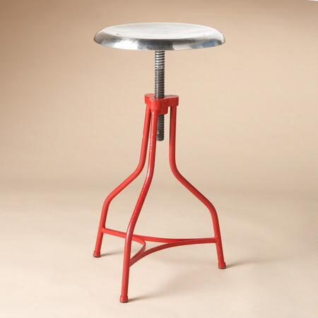 An adjustable steel factory stool makes a chic addition to your workspace or home.