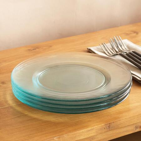 You'll love the sheer beauty and simplicity of this recycled glass plate set.