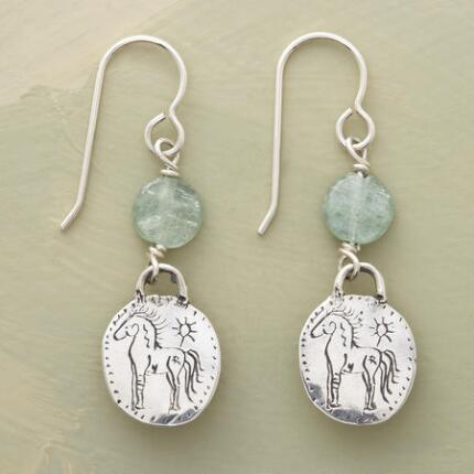 This pair of Jes MaHarry horse and sun earrings endears with its earnest etchings.
