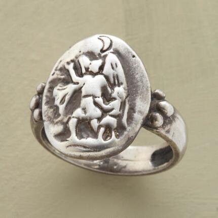 With this handcrafted guardian angel ring in hand, you'll always find your way.