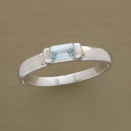 The simple sophistication of this baguette-cut blue topaz ring will make it a favorite.