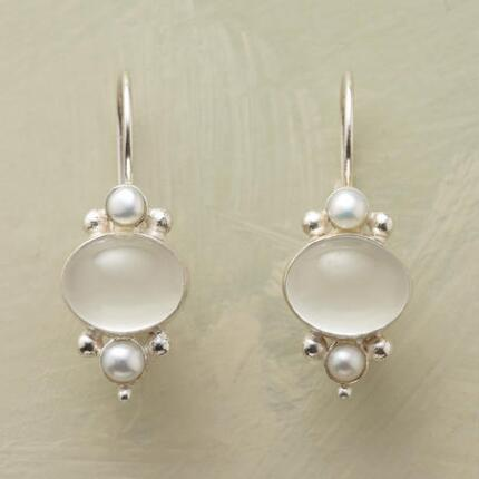 These handmade freshwater pearl and moonstone earrings are perfectly timeless.