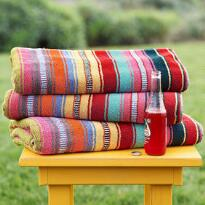 DOUBLE-WIDE SUNDANCE STRIPED BEACH TOWEL