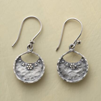 A pair of sterling silver market basket earrings brimming with handmade beauty.