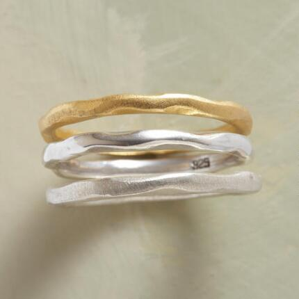 You might wear this simply elegant matte silver & gold stack ring set every single day.