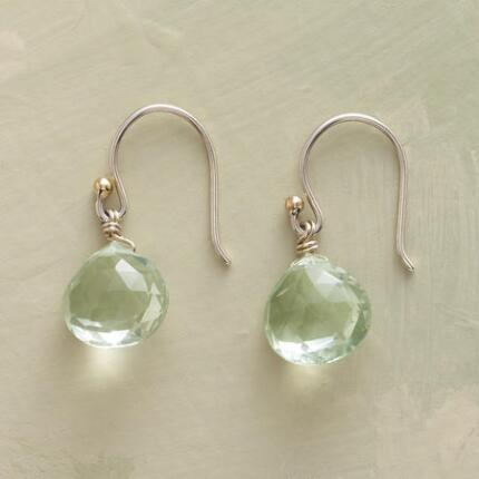 A pair of dangling green amethyst earrings that will brighten any look.