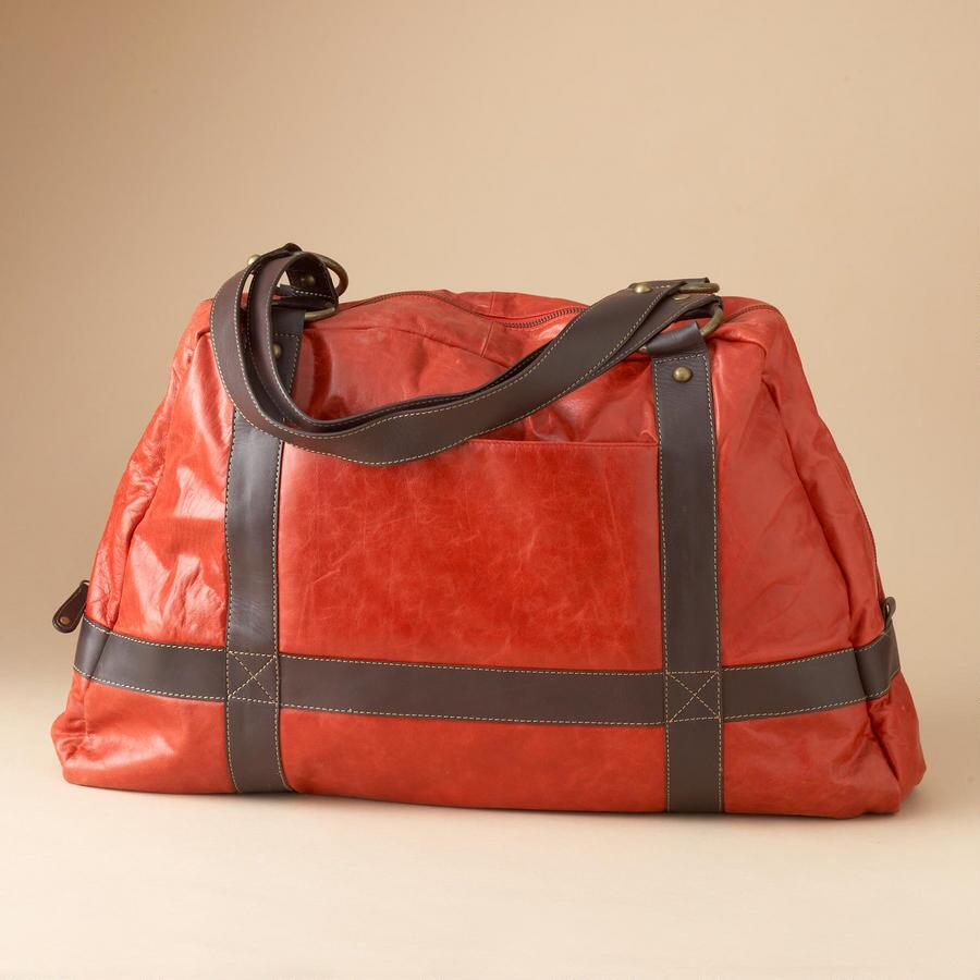 RED LEATHER TOURING BAG