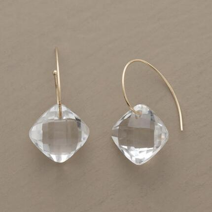 With simple brilliance, these dangling faceted quartz earrings are both classic and glamorous.