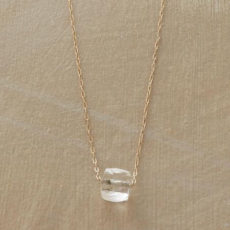 Simply sparkling, this rock quartz cube necklace is a shining everyday piece.