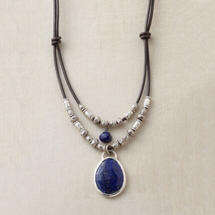 This double lapis pendant necklace will introduce a splash of cool color into your look.