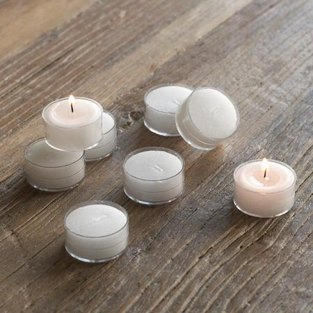 WHITE TEA LIGHTS, SET OF 8