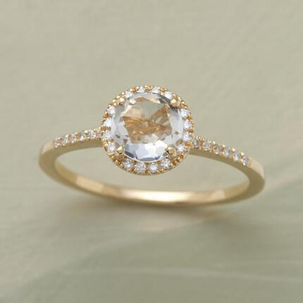 This rose-cut white topaz ring brings a dainty grace to any ensemble.