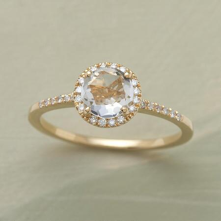 This rose-cut white topaz ring brings a delicate grace to any ensemble.