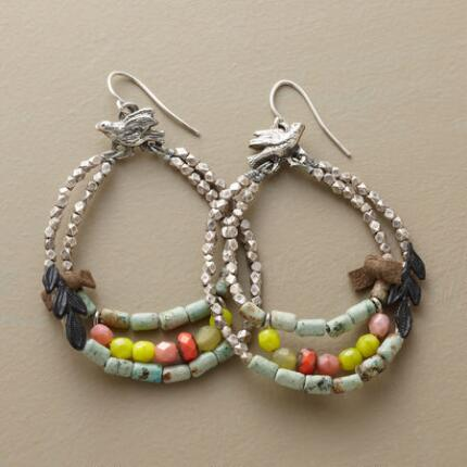 BIRDS AND BEADS HOOP EARRINGS