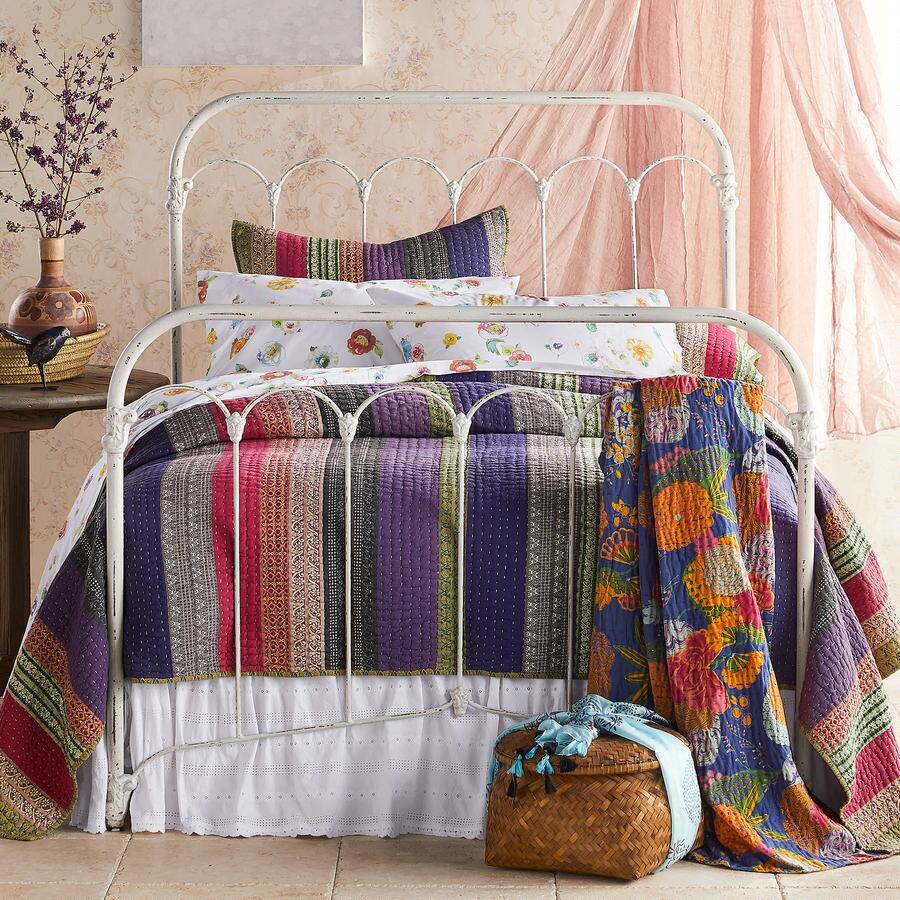 Lightweight Striped Cotton Kantha Quilt