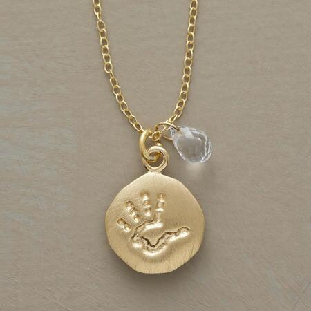 BIRTHSTONE HANDPRINT NECKLACE