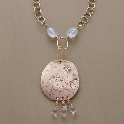 Glowing and spirited, this rose gold horse pendant necklace speaks of wild exuberance.