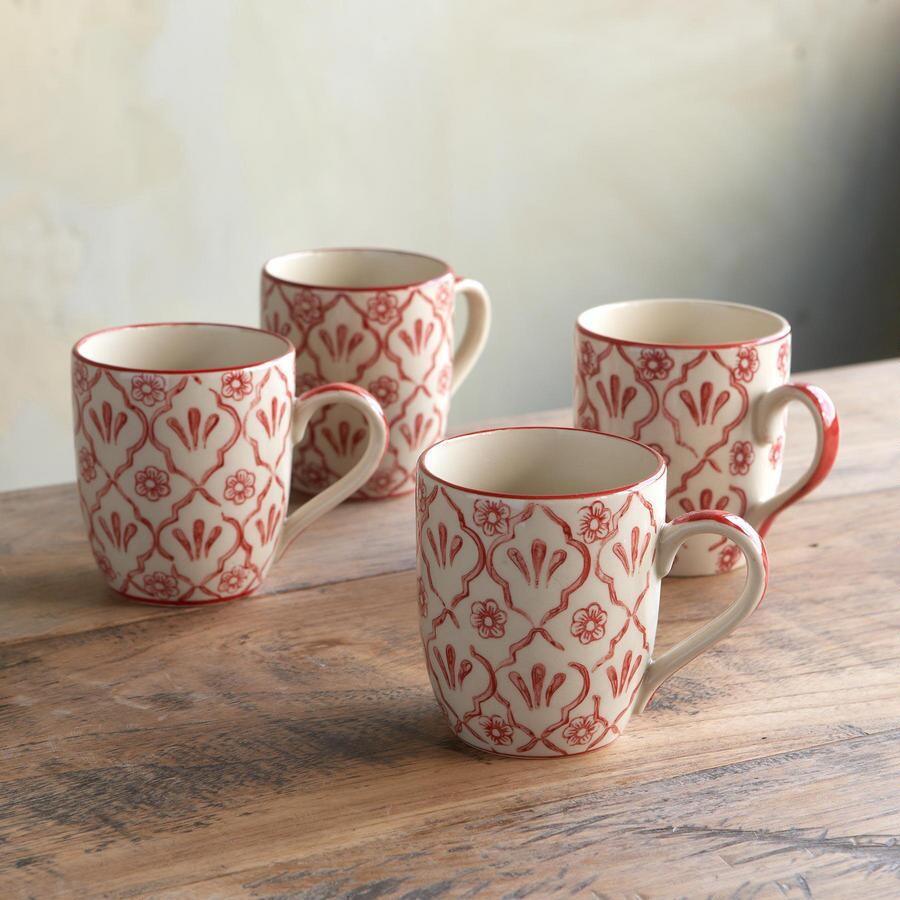 RED FLOWER MUGS, SET OF 4