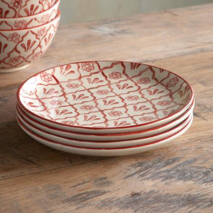 RED FLOWER SALAD PLATES, SET OF 4