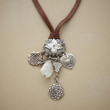 A long leather charm necklace, like a pretty bouquet of pendants.