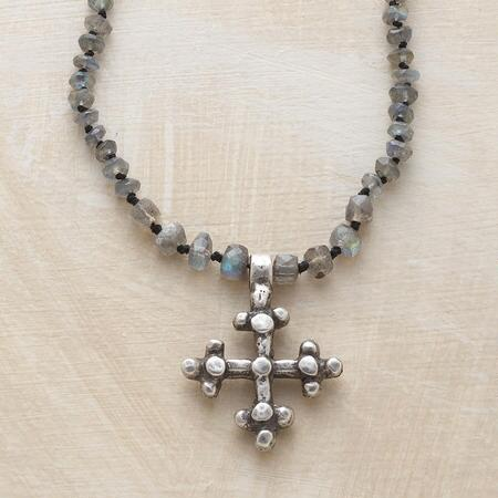 This sterling cross and labradorite necklace exudes a subtle mystique.